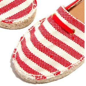 Lace Up Espadrilles - Red/Beige